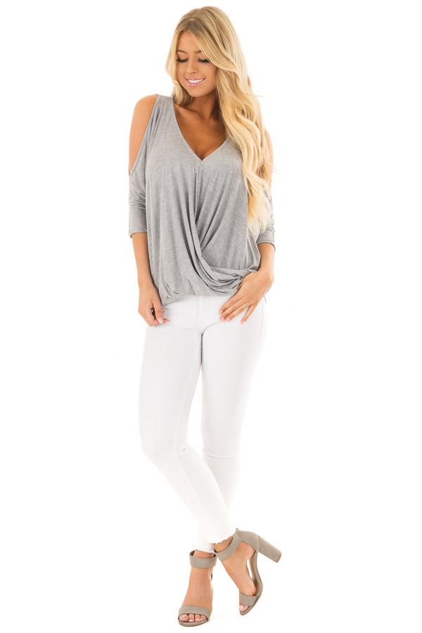 Heather Grey Crossover Drape Cold Shoulder Top front full body