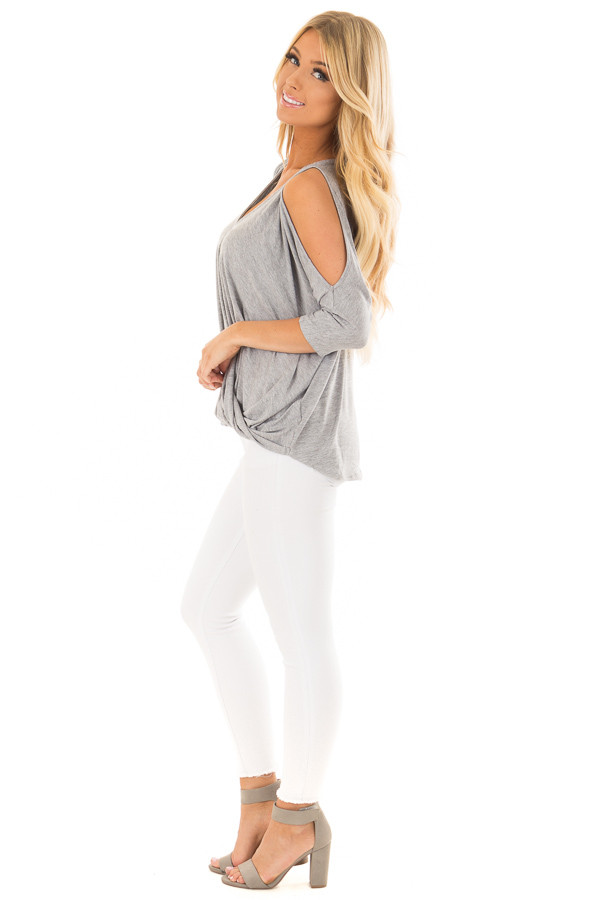 Heather Grey Crossover Drape Cold Shoulder Top side full body