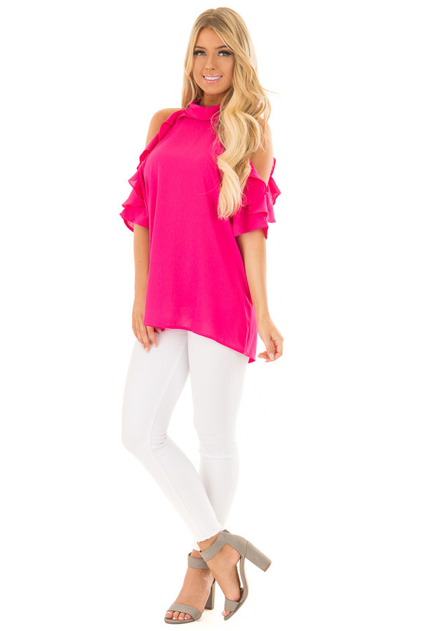 Hot Pink Cold Shoulder Top with Ruffle Sleeve Detail front full body