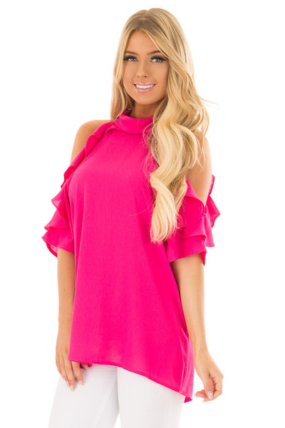 Hot Pink Cold Shoulder Top with Ruffle Sleeve Detail front closeup
