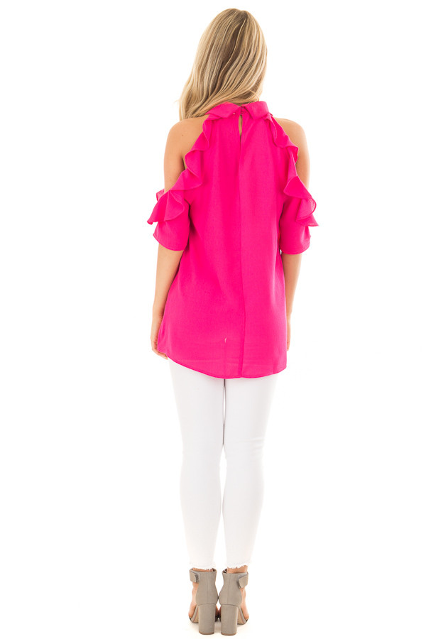 Hot Pink Cold Shoulder Top with Ruffle Sleeve Detail back full body