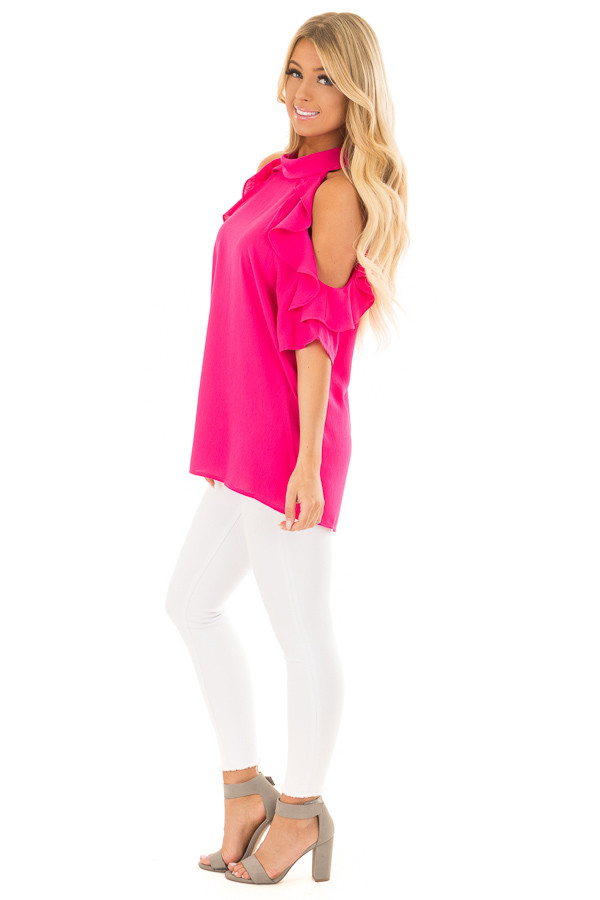 Hot Pink Cold Shoulder Top with Ruffle Sleeve Detail side full body