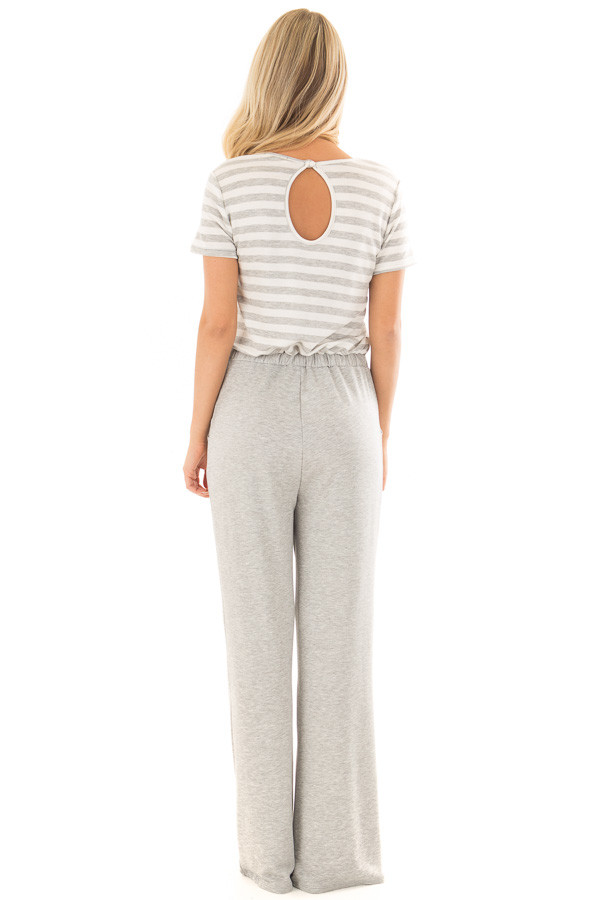 Heather Grey Jumpsuit with Stripe Detail and Hidden Pockets back full body