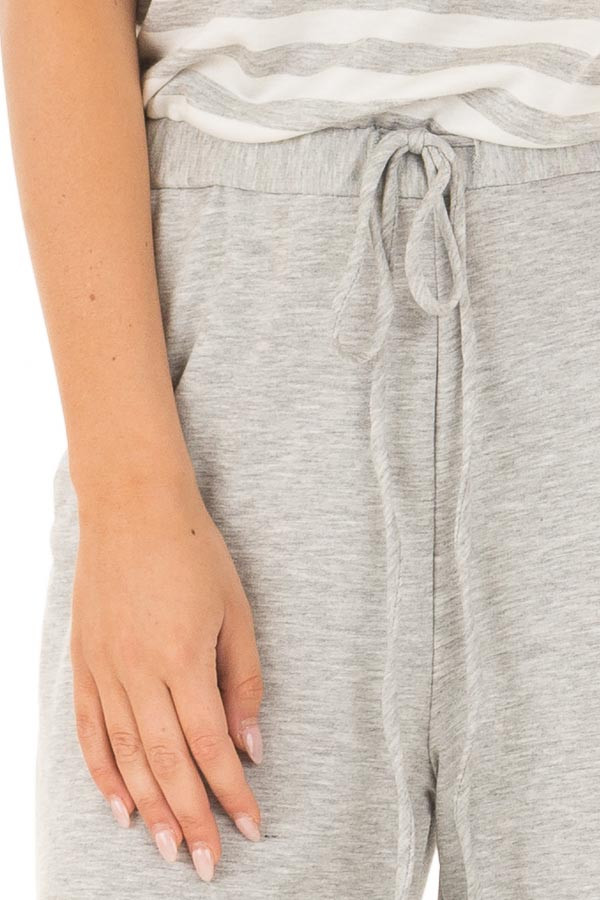 Heather Grey Jumpsuit with Stripe Detail and Hidden Pockets front detail