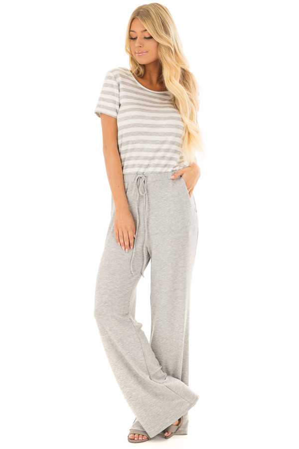 Heather Grey Jumpsuit with Stripe Detail and Hidden Pockets front full body