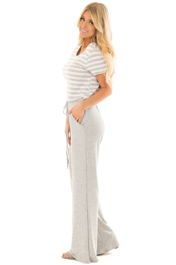 Heather Grey Jumpsuit with Stripe Detail and Hidden Pockets side full body