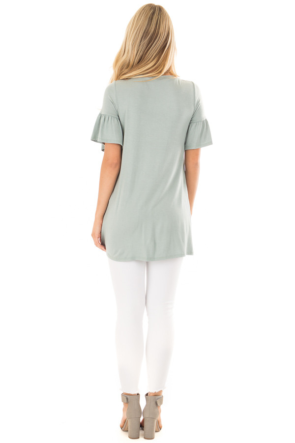Blue Sage Ruffle Sleeve Tee with Twist Detail back full body