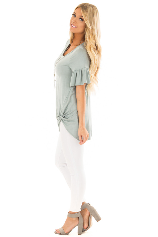 Blue Sage Ruffle Sleeve Tee with Twist Detail side full body