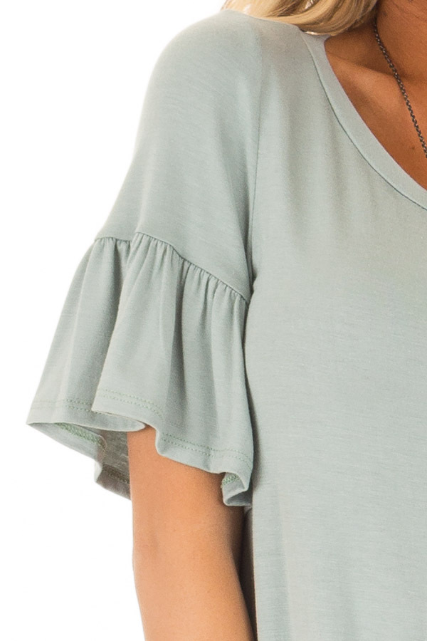 Blue Sage Ruffle Sleeve Tee with Twist Detail detail
