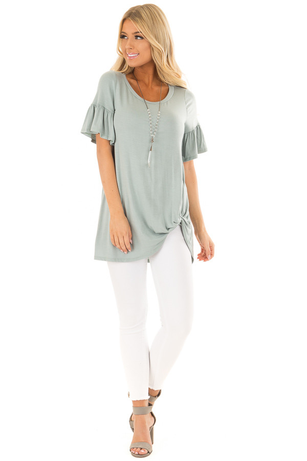 Blue Sage Ruffle Sleeve Tee with Twist Detail front full body