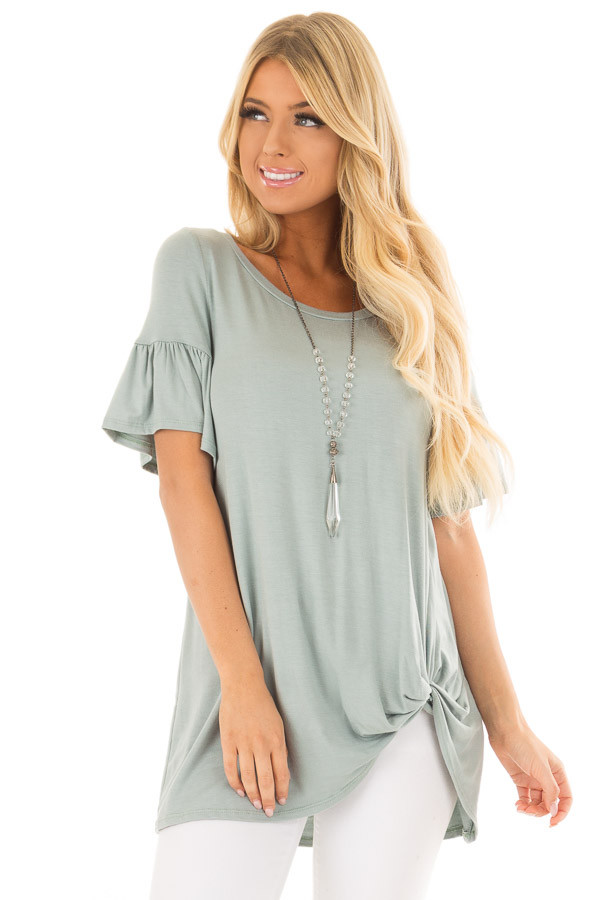 Blue Sage Ruffle Sleeve Tee with Twist Detail front close up