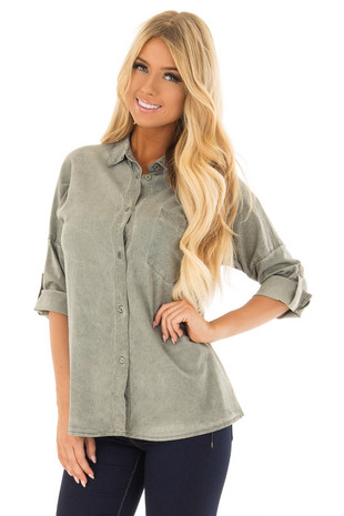 Olive Button Down Collared Top with Breast Pocket front close up