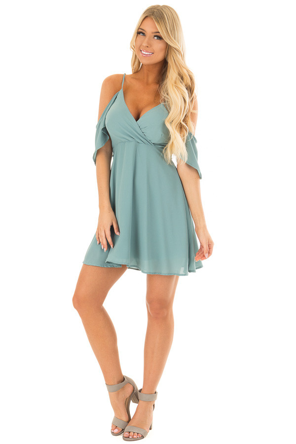 Dusty Blue Ruffle Cold Shoulder Dress front full body