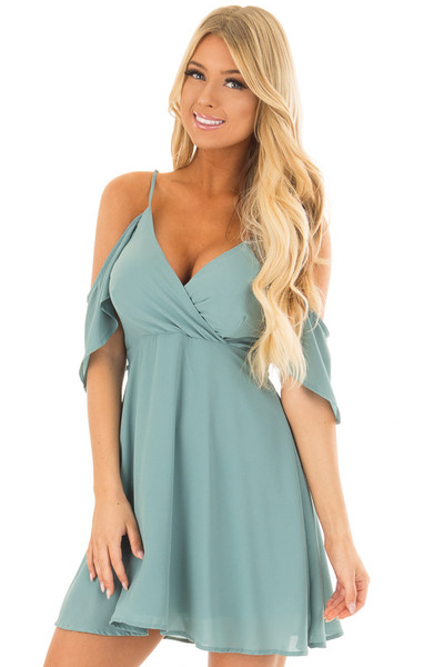 Dusty Blue Ruffle Cold Shoulder Dress front close up