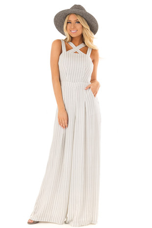 White and Black Stripe Jumpsuit with X Neckline front full body
