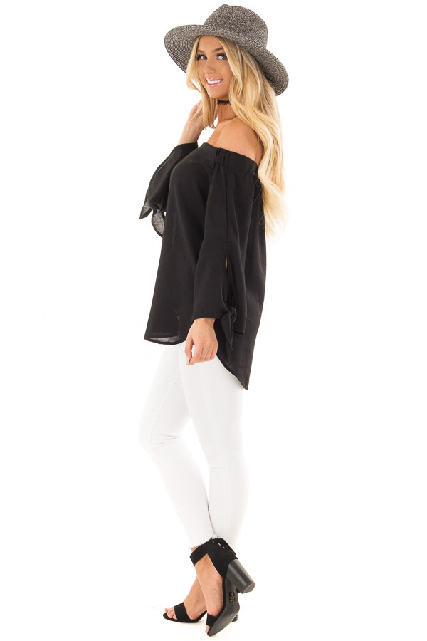 Black Off the Shoulder Top with Self Tie Sleeves side full body