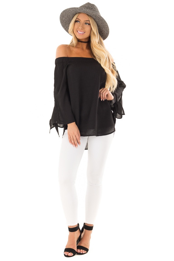 Black Off the Shoulder Top with Self Tie Sleeves front full body