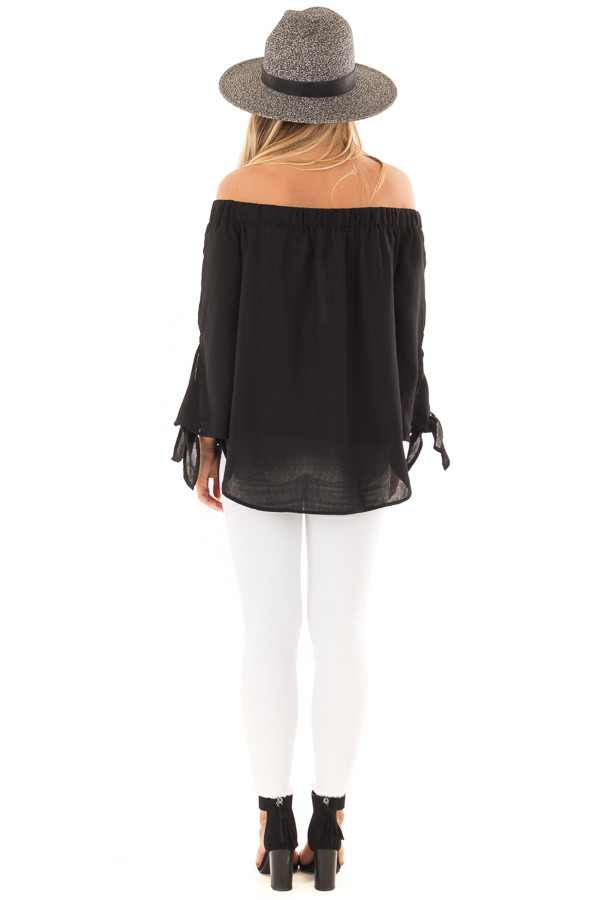 Black Off the Shoulder Top with Self Tie Sleeves back full body