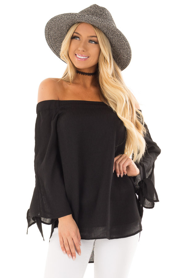 Black Off the Shoulder Top with Self Tie Sleeves front close up