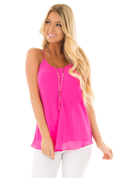 Hot Pink Flowy Racerback Tank Top front close up