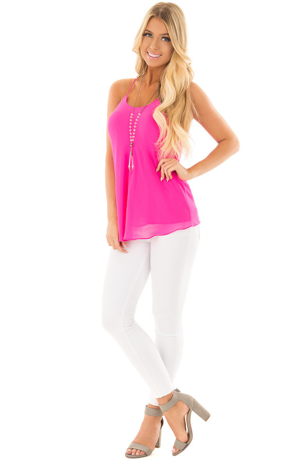 Hot Pink Flowy Racerback Tank Top front full body