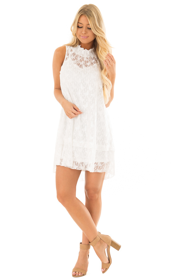 Ivory Sleeveless Butterfly Lace Mock Neck Dress front full body