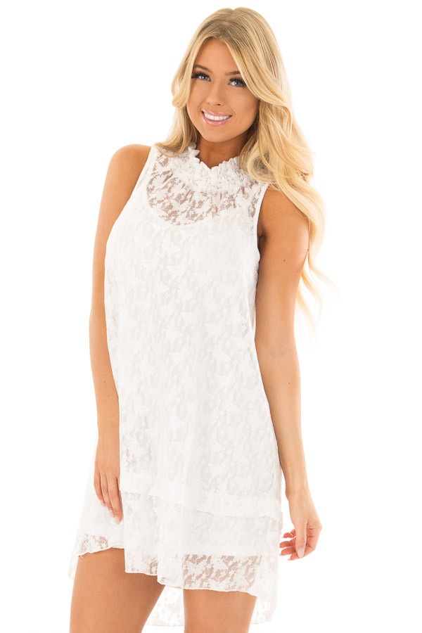 Ivory Sleeveless Butterfly Lace Mock Neck Dress front close up