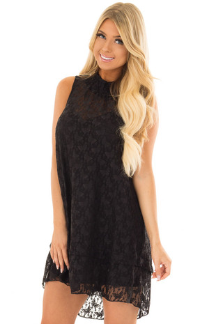 Black Sleeveless Butterfly Lace Mock Neck Dress front close up