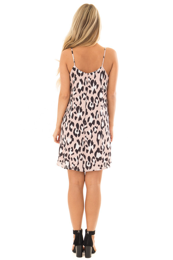 Dusty Pink Leopard Print Flowy Sleeveless Dress back full body
