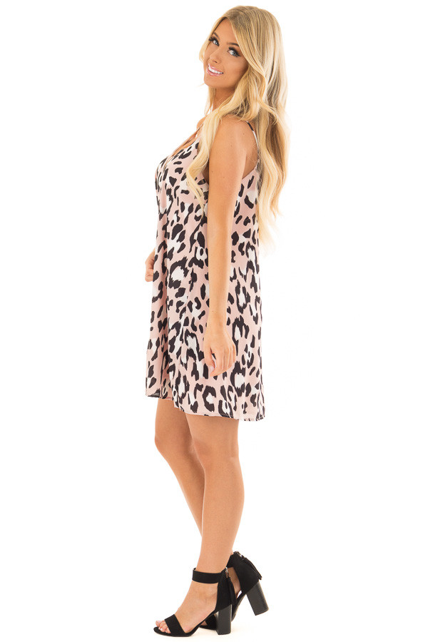 Dusty Pink Leopard Print Flowy Sleeveless Dress side full body