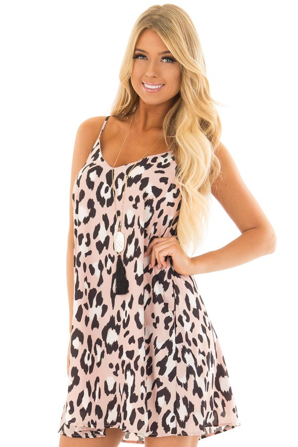 Dusty Pink Leopard Print Flowy Sleeveless Dress front close up