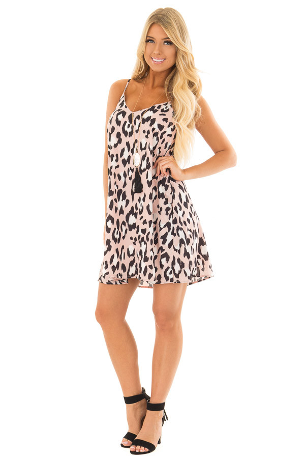 Dusty Pink Leopard Print Flowy Sleeveless Dress front full body