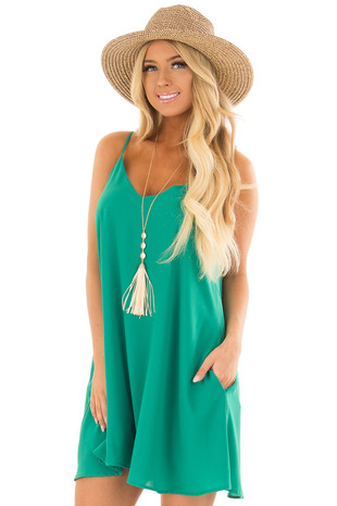 Kelly Green Flowy Sleeveless Dress front close up