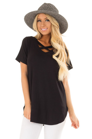 Black Short Sleeve Tee Shirt with Criss Cross Neckline front close up
