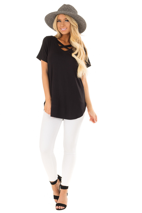 Black Short Sleeve Tee Shirt with Criss Cross Neckline front full body