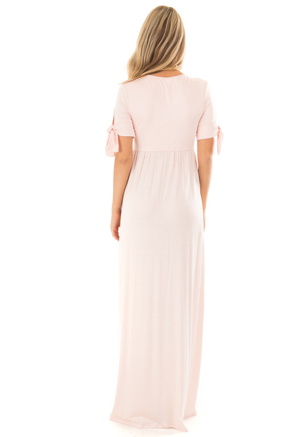 Blush Short Sleeve Maxi Dress with Tie Sleeve Detail back full body