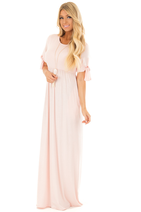 Blush Short Sleeve Maxi Dress with Tie Sleeve Detail front full body