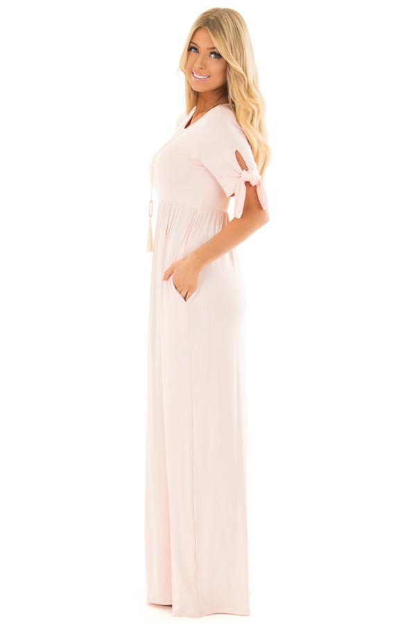 Blush Short Sleeve Maxi Dress with Tie Sleeve Detail side full body