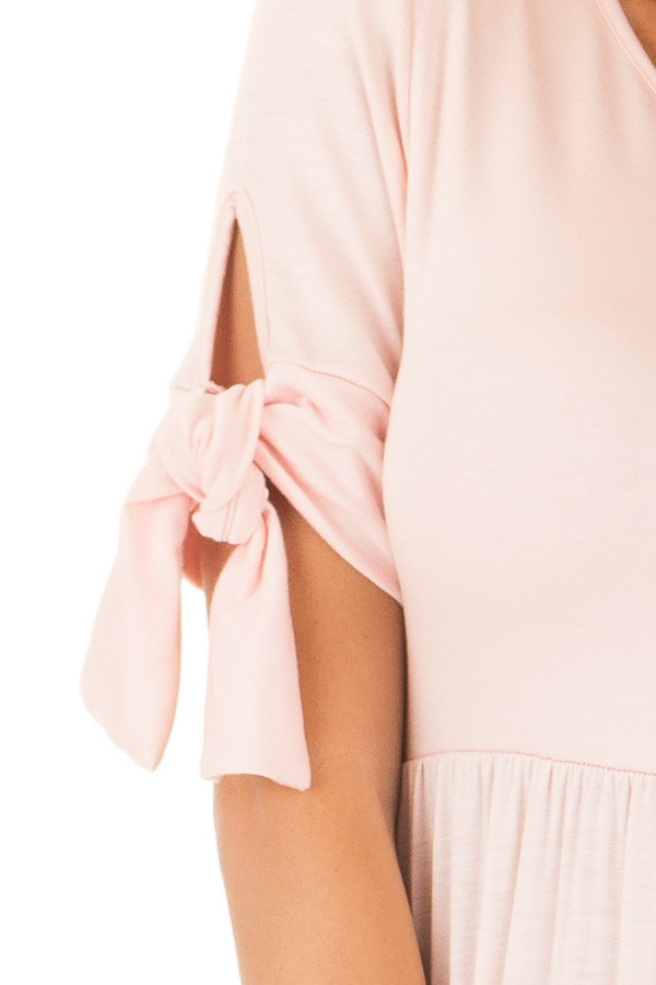 Blush Short Sleeve Maxi Dress with Tie Sleeve Detail detail