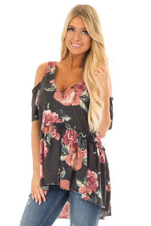 Charcoal Babydoll Flower Cold Shoulder Top front close up