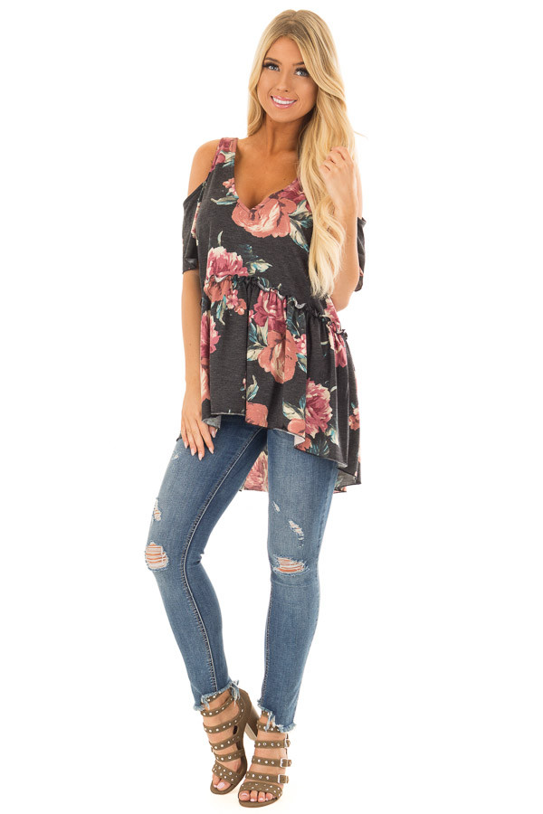 Charcoal Babydoll Flower Cold Shoulder Top front full body