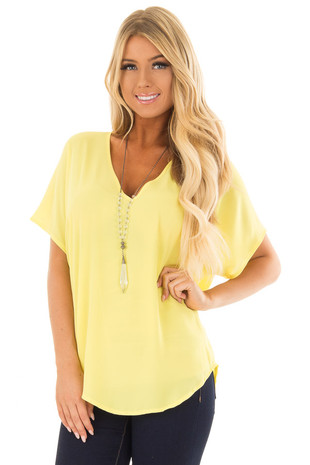 Canary Yellow V Neck Blouse front close up