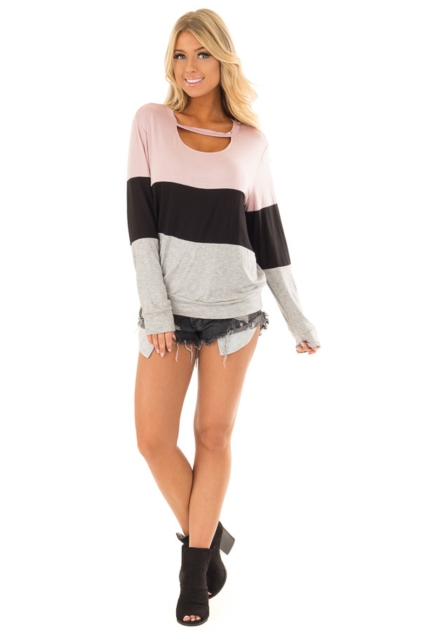 Dusty Pink Color Block Top with Chest Cutout front full body