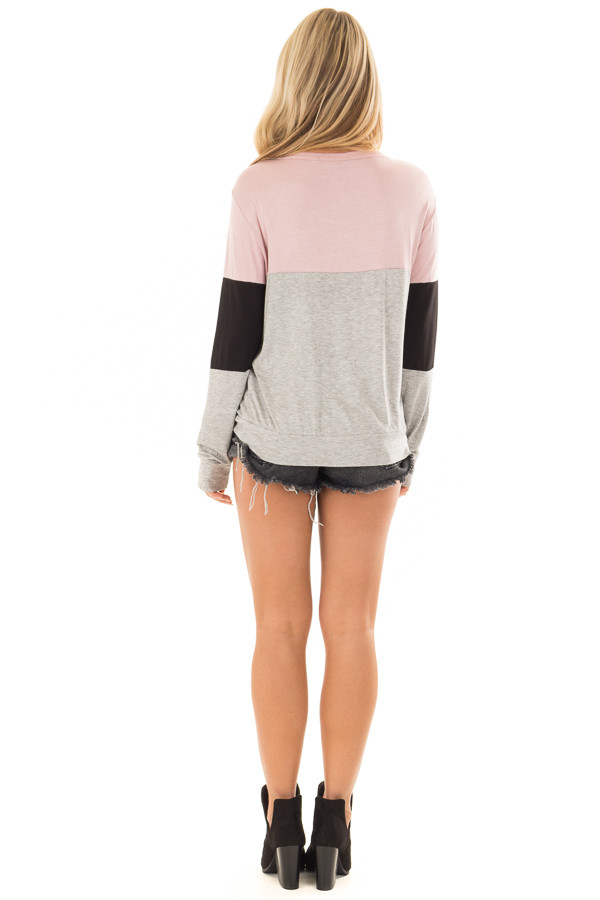 Dusty Pink Color Block Top with Chest Cutout back full body