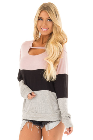 Dusty Pink Color Block Top with Chest Cutout front close up