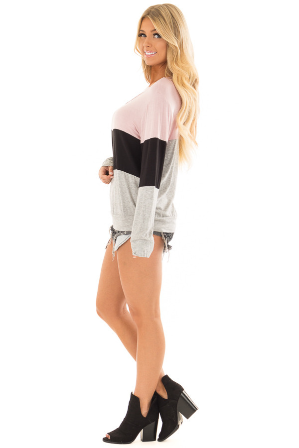 Dusty Pink Color Block Top with Chest Cutout side full body