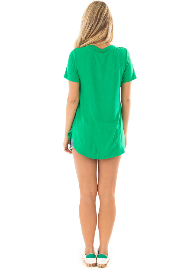 Kelly Green Short Sleeve Tee with Criss Cross Neckline back full body