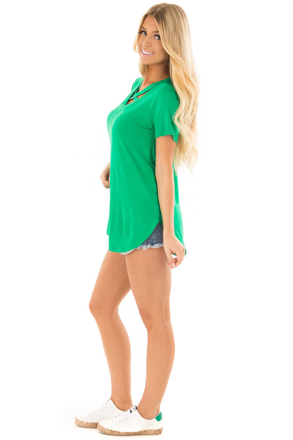 Kelly Green Short Sleeve Tee with Criss Cross Neckline side full body