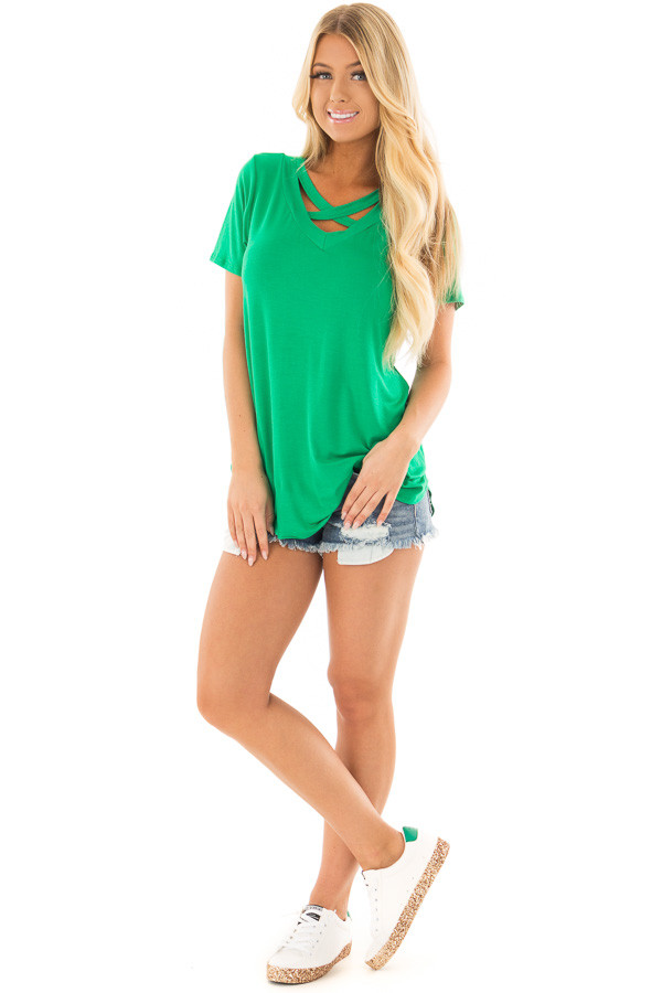 Kelly Green Short Sleeve Tee with Criss Cross Neckline front full body