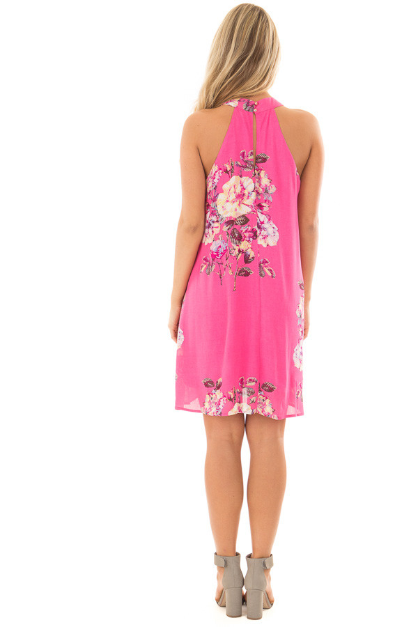 Hot Pink High Neck Dress with Floral Print Detail back full body